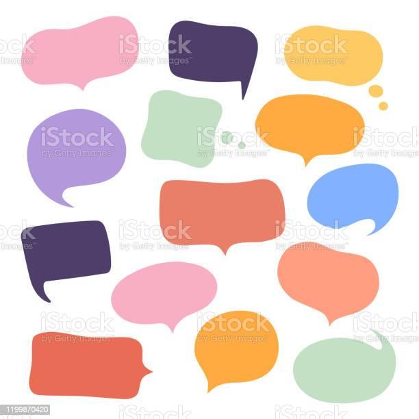 設置不同的手繪語音氣泡聊天聊天說話資訊空空白注釋向量插圖設計向量圖形及更多一組物體圖片