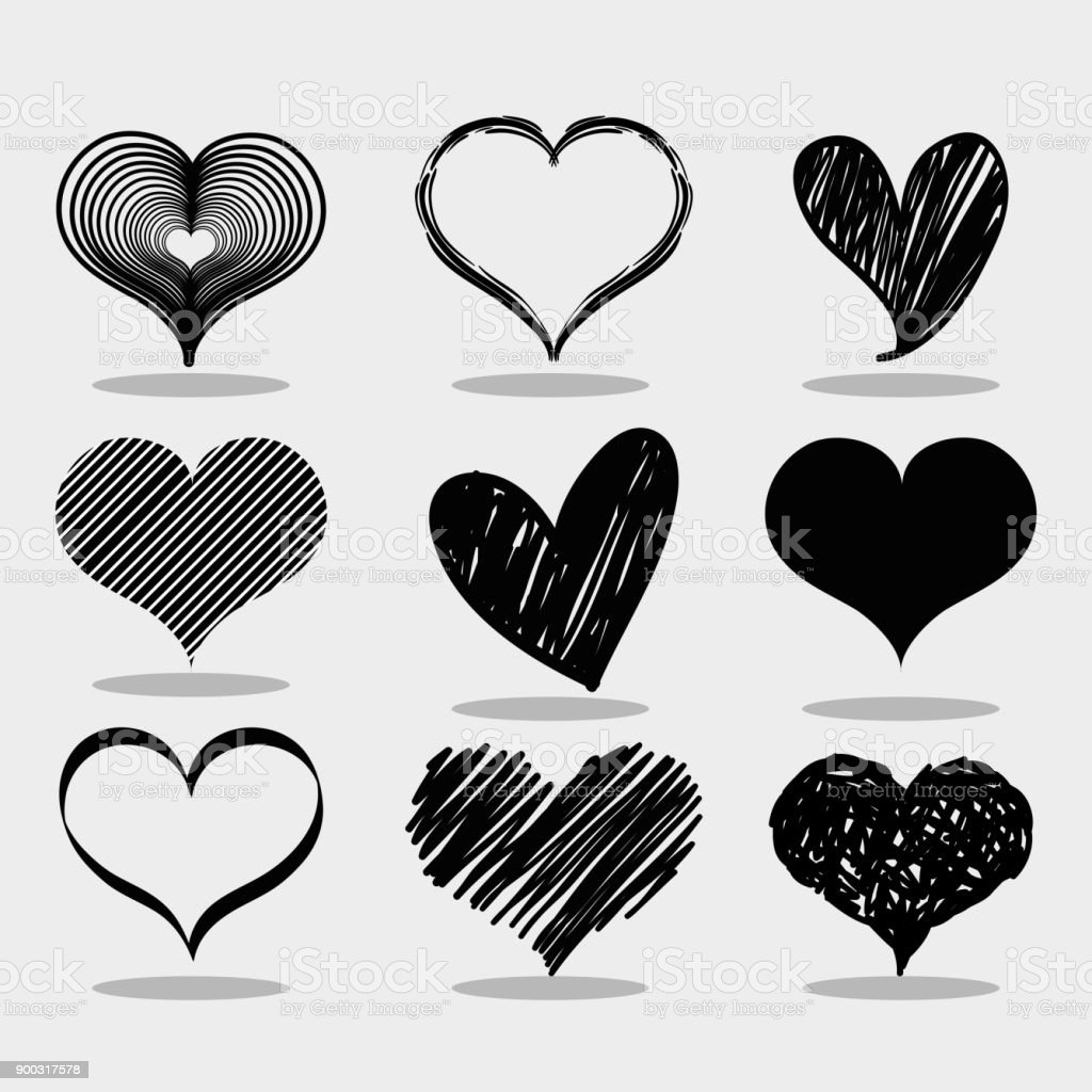 Set Different Heart Shape To Love Symbol Stock Vector Art More