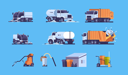 set different industrial heavy transport and equipment collection professional street cleaning concept flat horizontal