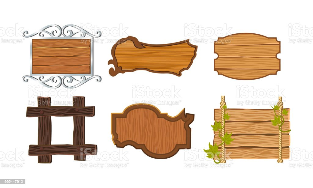 Set Different Kinds Of Wooden Signboards With Frames Decorative