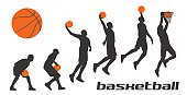 Set different poses basketball players in silhouettes. Vector flat illustration isolated on white background