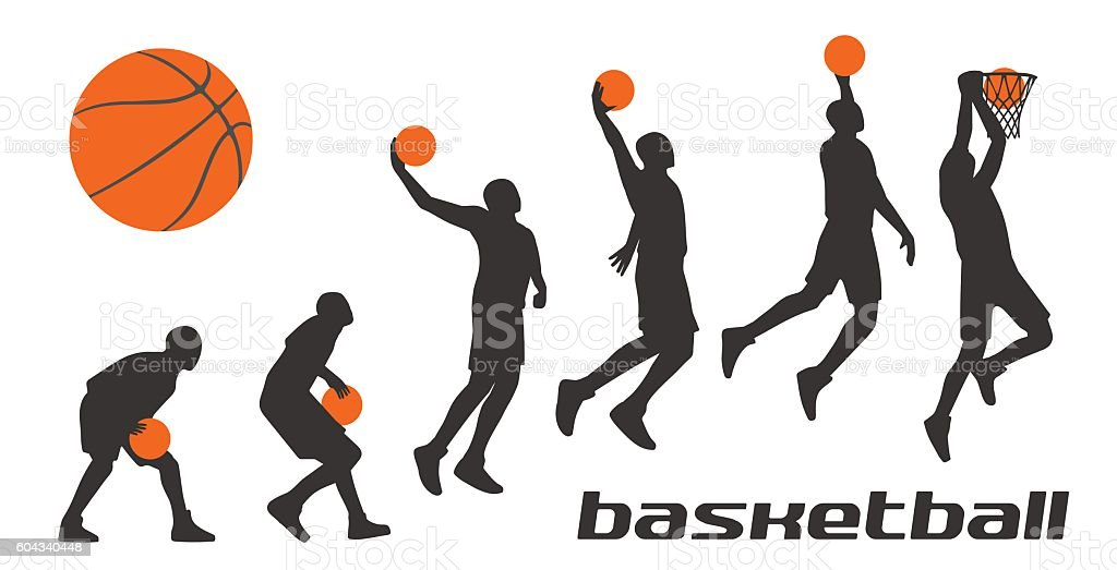 Set different poses basketball players in silhouettes. векторная иллюстрация
