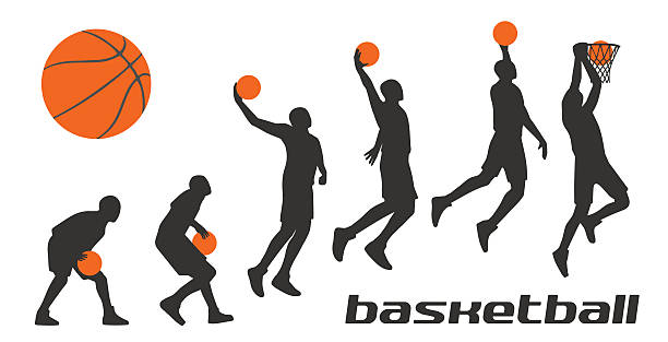 Bекторная иллюстрация Set different poses basketball players in silhouettes.