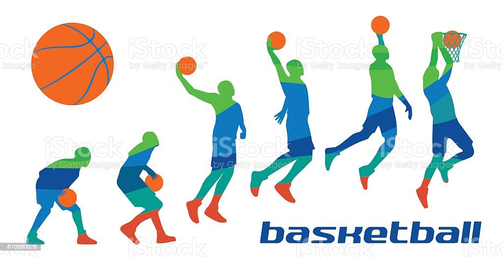 Set different poses basketball players in silhouettes. vector art illustration