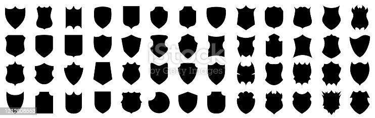 istock Set different shields icons, protect signs – for stock 1212608553
