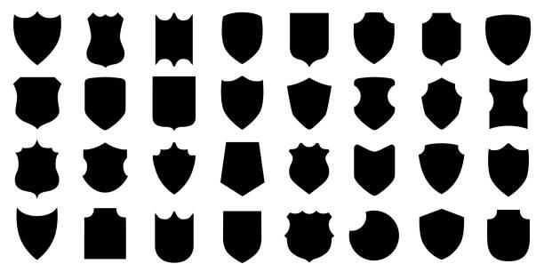 ilustrações de stock, clip art, desenhos animados e ícones de set different shields icons, protect signs – stock vector - forma