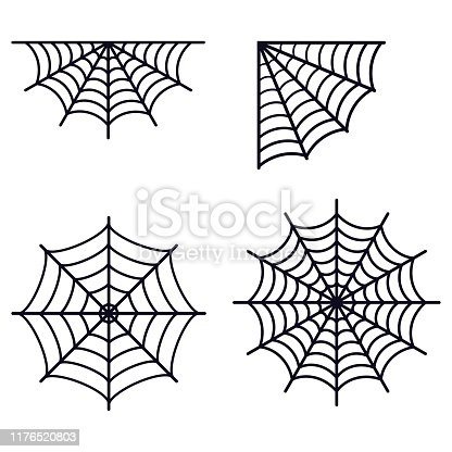 Set of different simple black spederwebs silhouette icon isolated on white background. Flat style spider web symbol vector illustration. Graphic design element for Halloween party.