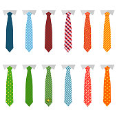 Set different ties isolated on white background. Colored tie for