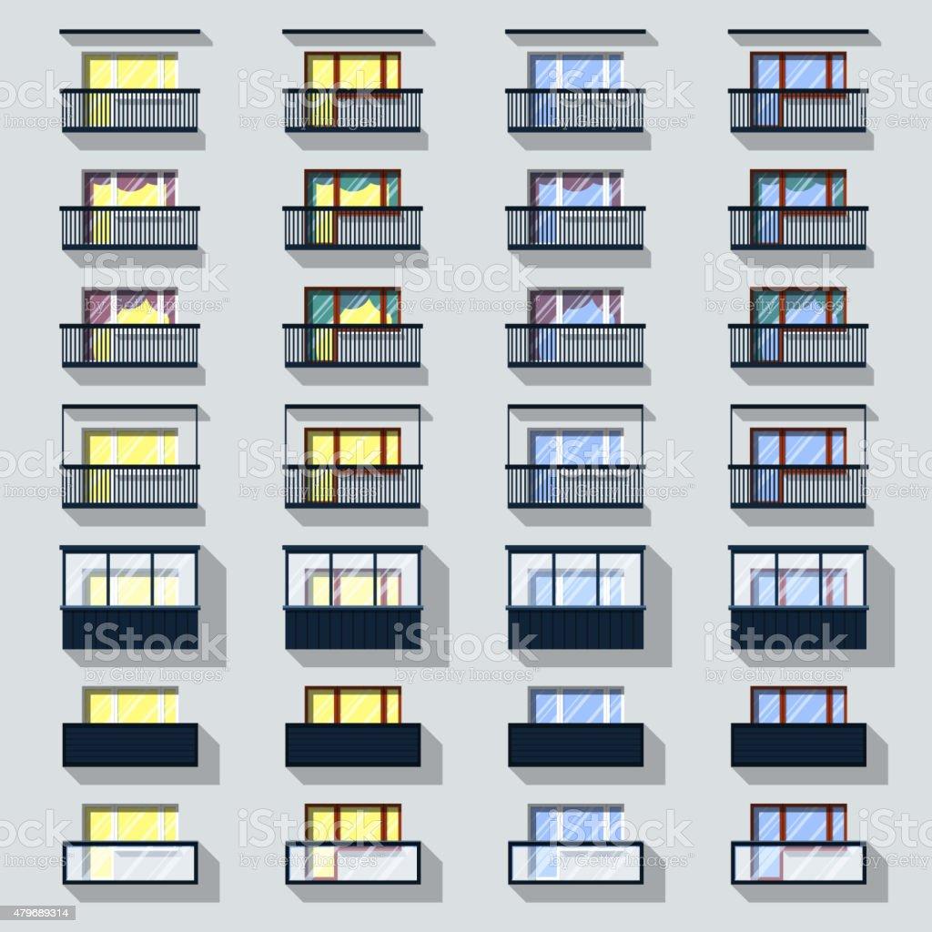Set Different Types Of Balconies stock vector art 479689314 iStock