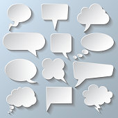 Set different white empty speech bubble, chat sign - stock vector