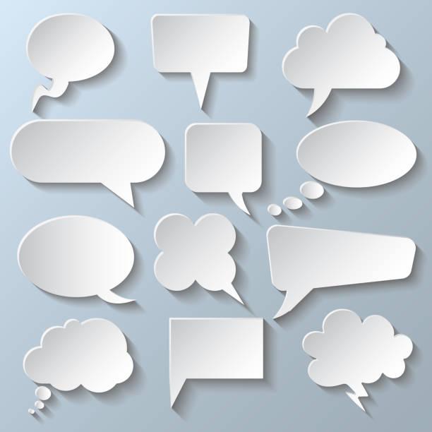 Set different white empty speech bubble, chat sign - stock vector Set different white empty speech bubble, chat sign - stock vector annotation stock illustrations