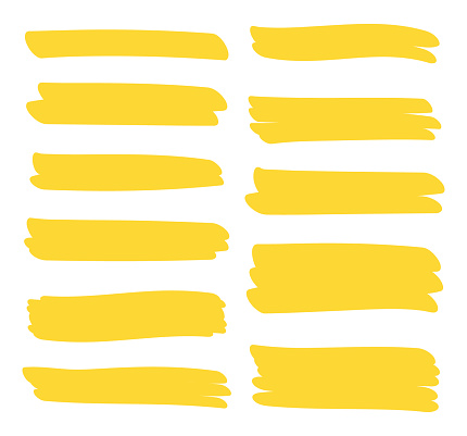 Set different yellow highlighter marker strokes. Brush pen underline lines. Vector illustration