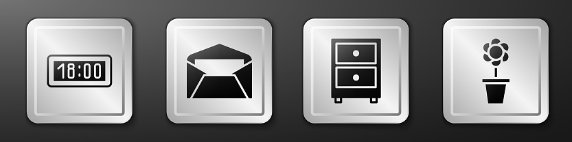 Set Digital alarm clock, Envelope, Drawer with documents and Flower in pot icon. Silver square button. Vector