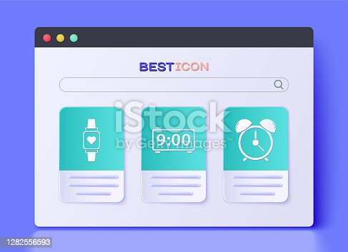 Set Digital alarm clock , Smart watch showing heart beat rate and Alarm clock icon. Vector