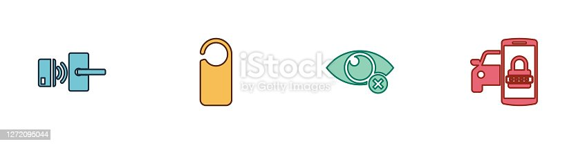 istock Set Digital door lock with wireless, Please not disturb, Invisible hide and Smart car security system icon. Vector 1272095044