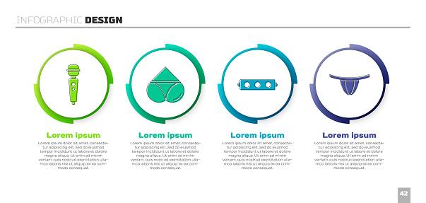 Set Dildo vibrator, Woman panties, Silicone ball gag with belt and Woman panties. Business infographic template. Vector