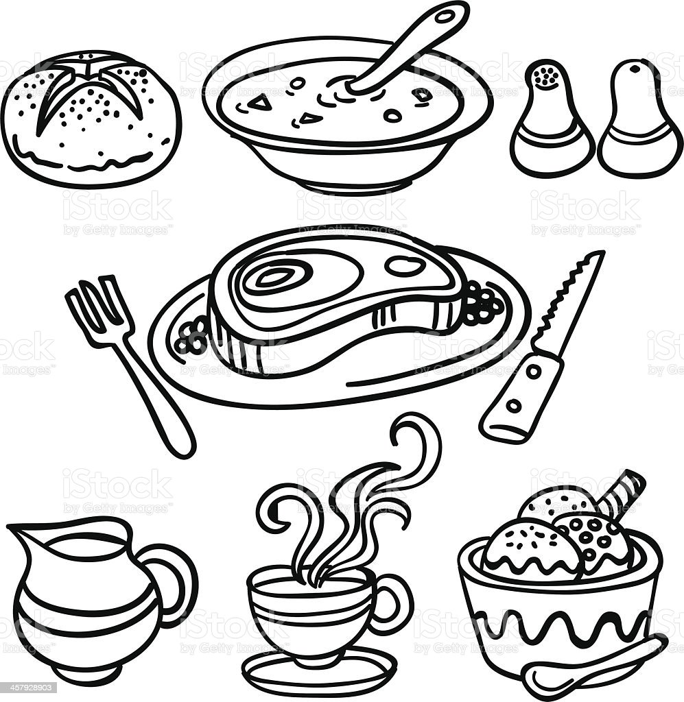 Set dinner collection in Black and White royalty-free stock vector art