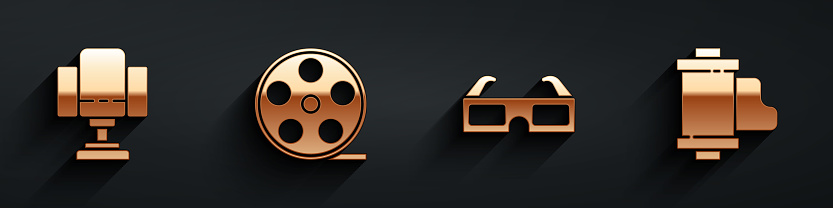 Set Director movie chair, Film reel, 3D cinema glasses and Camera vintage film roll cartridge icon with long shadow. Vector