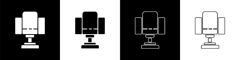 Set Director movie chair icon isolated on black and white background. Film industry. Vector Illustration