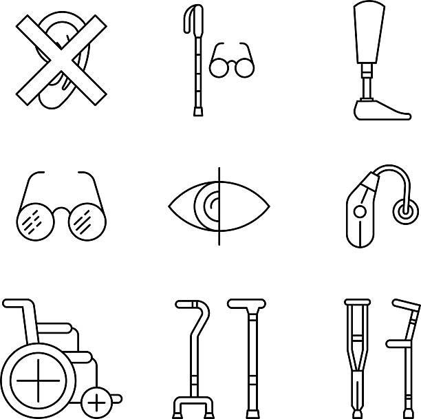 set disabled icon - hearing aid 幅插畫檔、美工圖案、卡通及圖標