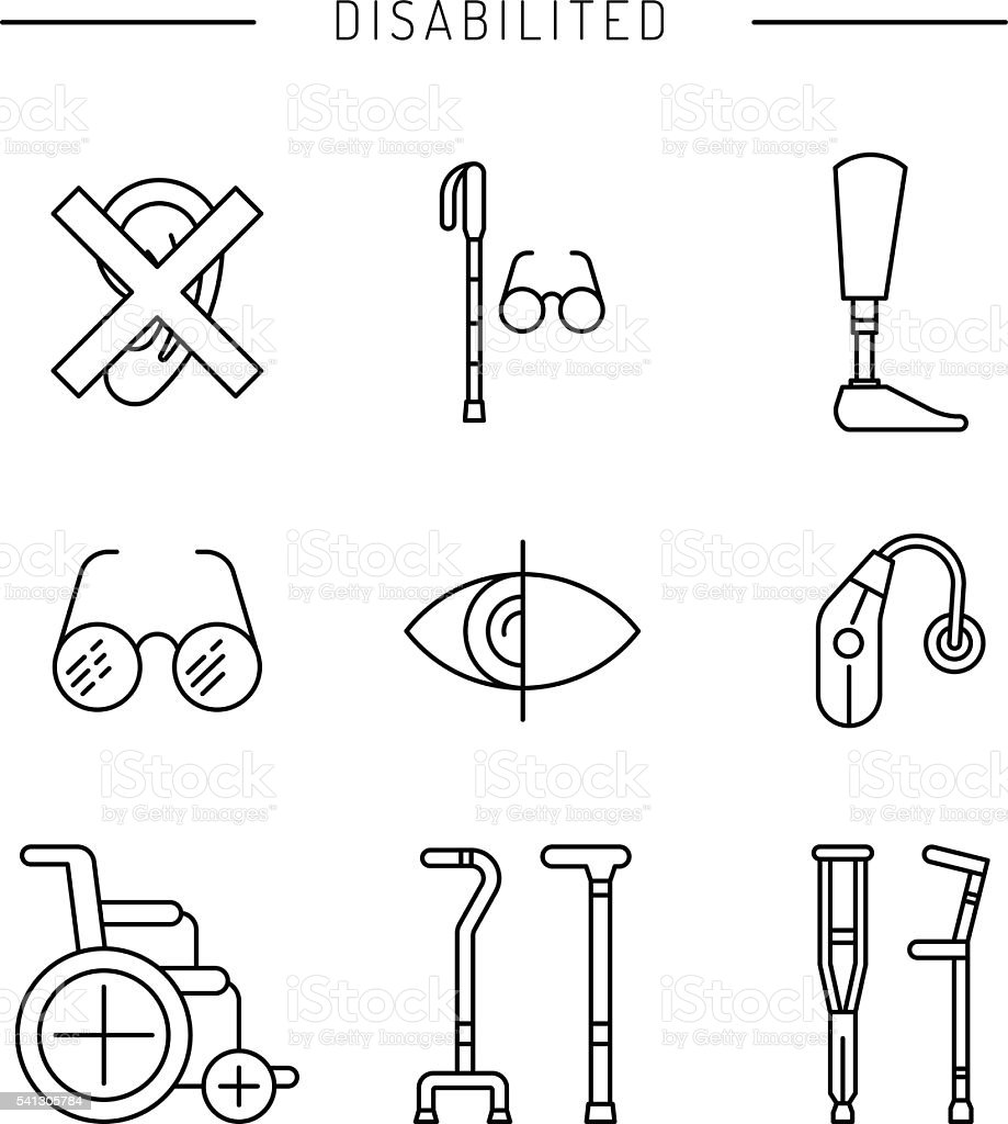set disabled icon vector art illustration