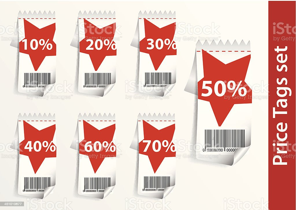 Set Discount labels with bar code royalty-free stock vector art