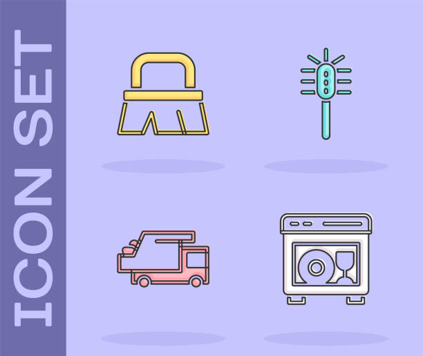 Set Dishwasher machine, Brush for cleaning, Garbage truck and Toilet brush icon. Vector Set Dishwasher machine, Brush for cleaning, Garbage truck and Toilet brush icon. Vector. dishwashing machine stock illustrations