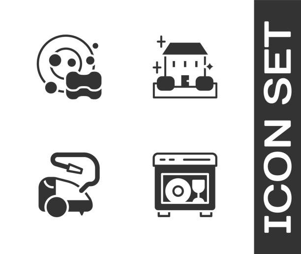 Set Dishwasher machine, Washing dishes, Vacuum cleaner and Home cleaning service icon. Vector Set Dishwasher machine, Washing dishes, Vacuum cleaner and Home cleaning service icon. Vector. dishwashing machine stock illustrations