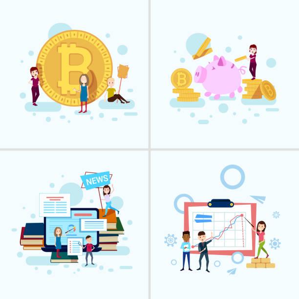 bildbanksillustrationer, clip art samt tecknat material och ikoner med ange mångfald pojke flicka karaktär bitcoin pengar tillväxt begrepp manliga kvinnliga mall för design och animation på vit bakgrund full längd platt - graphs animation