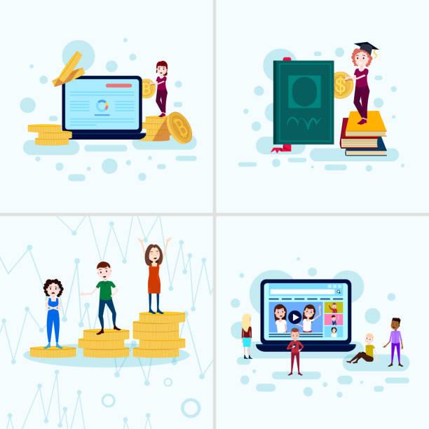 bildbanksillustrationer, clip art samt tecknat material och ikoner med ange mångfald pojke flicka karaktär utbildning begrepp manliga kvinnliga mall för design och animation på vit bakgrund full längd - graphs animation
