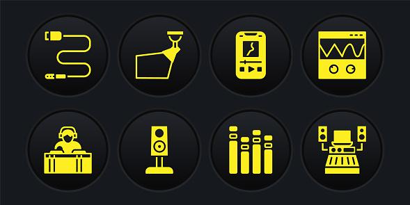 Set DJ playing music, Oscilloscope, Stereo speaker, Music equalizer, player, Movie spotlight, recording studio and Audio jack icon. Vector