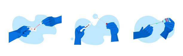 set doctors or scientists hands holding covid-19 nasal swab syringe and bottle vial and rapid test coronavirus pandemic set doctors or scientists hands holding covid-19 nasal swab laboratory test coronavirus pandemic concept horizontal vector illustration nasal swab stock illustrations
