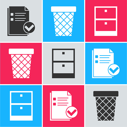 Set Document and check mark, Trash can and Archive papers drawer icon. Vector