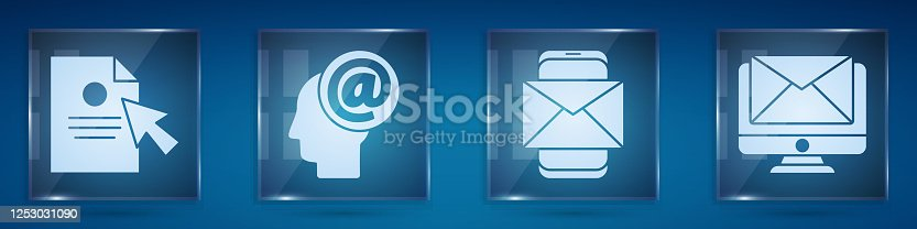 Set Document and cursor, Mail and e-mail, Mobile and envelope and Monitor and envelope. Square glass panels. Vector