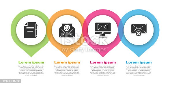 Set Document and pen, Mail and e-mail, Monitor and envelope and Delete envelope. Business infographic template. Vector