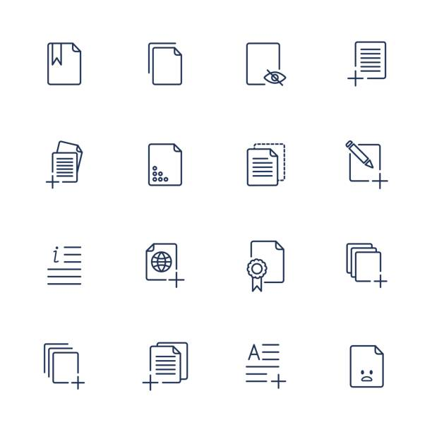 set document icons, paper icons - repetition stock illustrations, clip art, cartoons, & icons