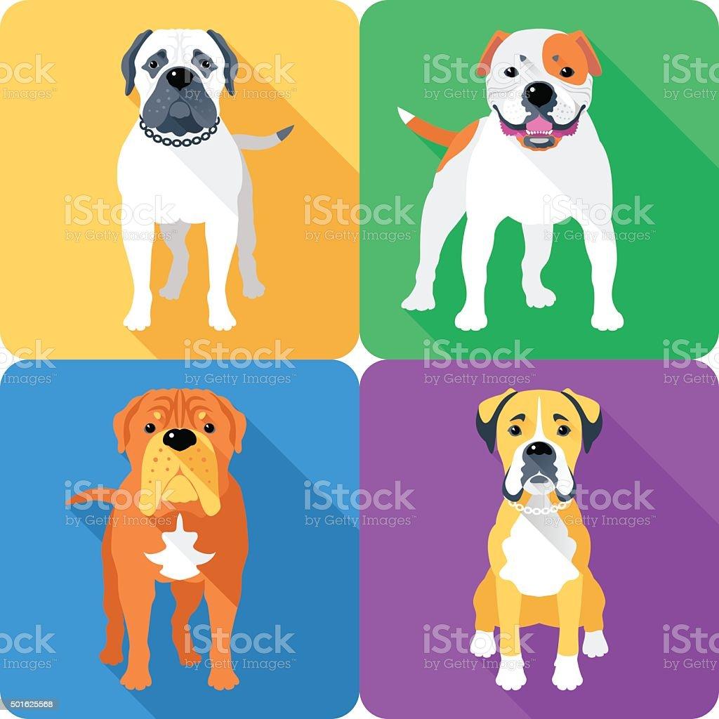 Set dog head icon flat design vector art illustration