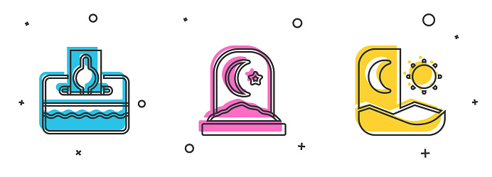 Set Donate or pay your zakat, Muslim cemetery and Ramadan fasting icon. Vector