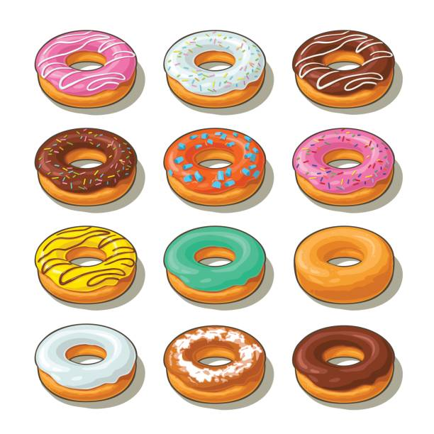 Set donut with different icing, glaze, stripes, sprinkles. Set donut with different icing, glaze, stripes, sprinkles. Vector colorful flat illustration with shadow for poster, label and menu bakery shop. Isolated on the white background. decorating a cake stock illustrations