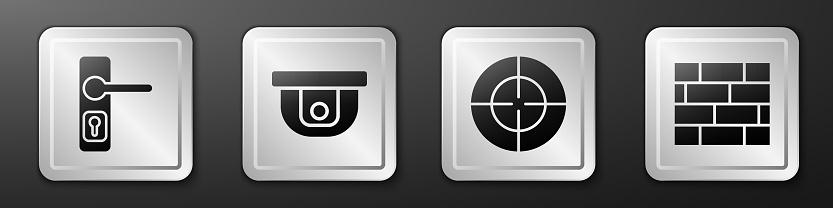 Set Door handle, Motion sensor, Target sport and Bricks icon. Silver square button. Vector
