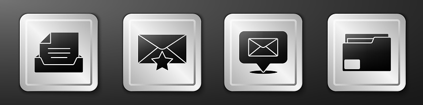 Set Drawer with document, Envelope with star, Speech bubble with envelope and Document folder icon. Silver square button. Vector