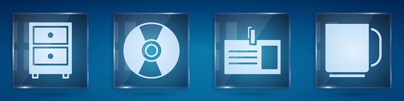 Set Drawer with documents, CD or DVD disk, Identification badge and Coffee cup. Square glass panels. Vector