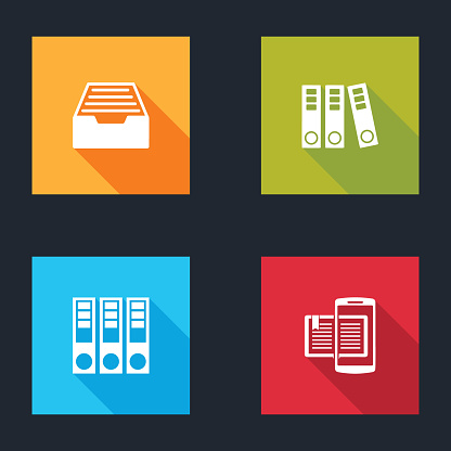Set Drawer with documents, Office folders, and Smartphone and book icon. Vector