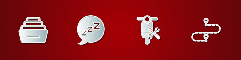 Set Drawer with documents, Speech bubble snoring, Scooter service and Route location icon. Vector