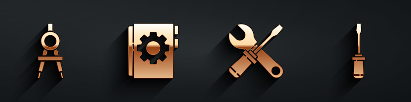 Set Drawing compass, User manual, Screwdriver and wrench spanner and Screwdriver icon with long shadow. Vector