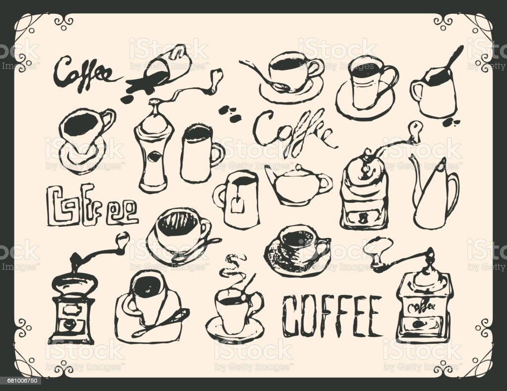 set drawing utensils for drinking tea and coffee vector art illustration