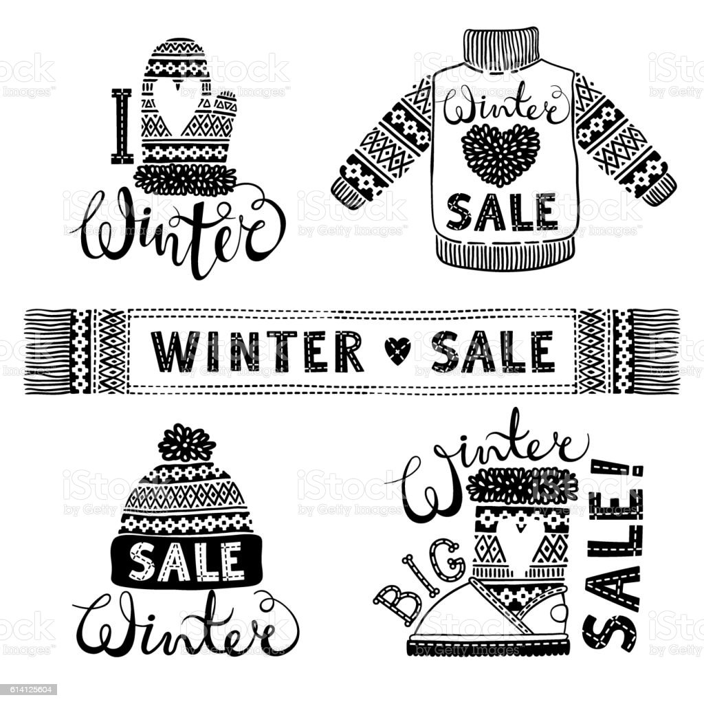 Set drawings knitted woolen clothing and footwear. Sweater, hat, mitten vector art illustration