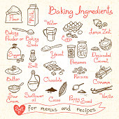 Set drawings of baking ingredients for design menus, recipes
