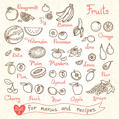 Set drawings of fruit for design menus, recipes and packages