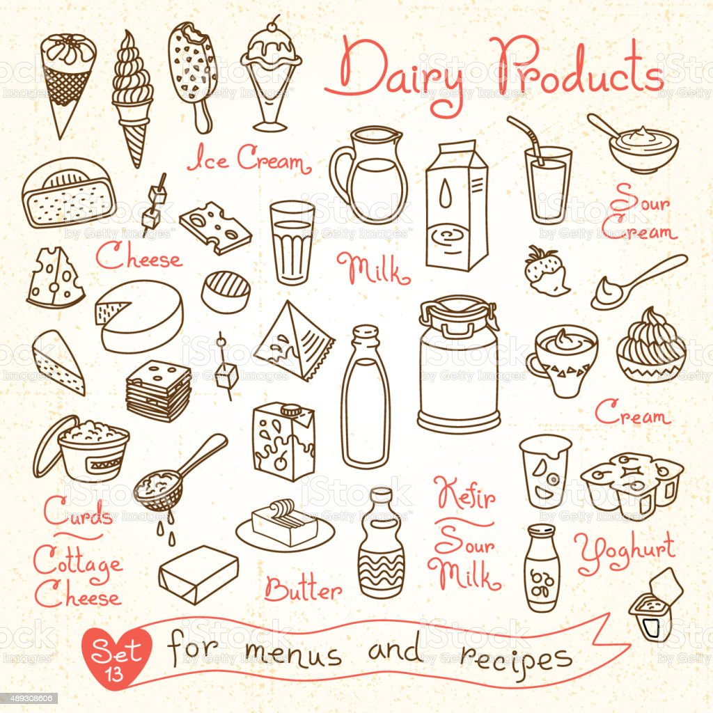 Set drawings of milk and dairy products for design menus vector art illustration